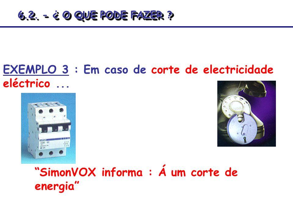EXEMPLO 3 : Em caso de corte de electricidade eléctrico... SimonVOX informa : Á um corte de energia 6.2. - ¿ O QUE PODE FAZER ?