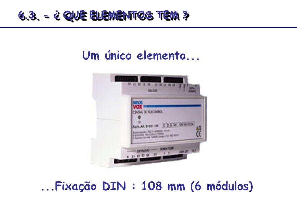 Um único elemento......Fixação DIN : 108 mm (6 módulos) 6.3. - ¿ QUE ELEMENTOS TEM ?