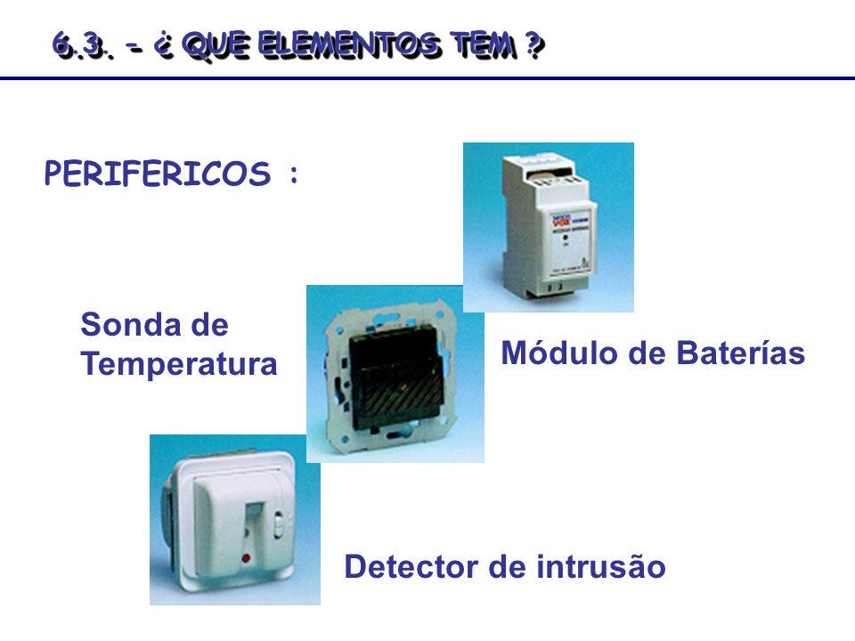 PERIFERICOS : Detector de intrusão Sonda de Temperatura Módulo de Baterías 6.3. - ¿ QUE ELEMENTOS TEM ?