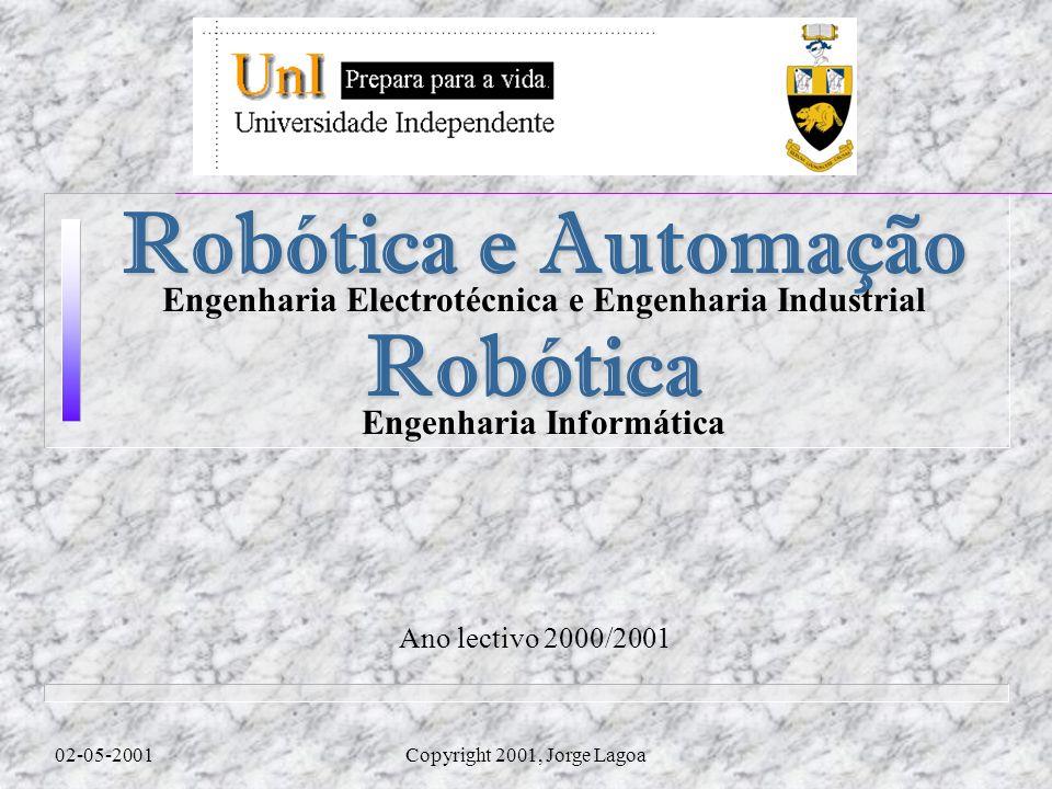 Ano lectivo 2000/2001 02-05-2001Copyright 2001, Jorge Lagoa Robótica e Automação Engenharia Electrotécnica e Engenharia Industrial Robótica Engenharia