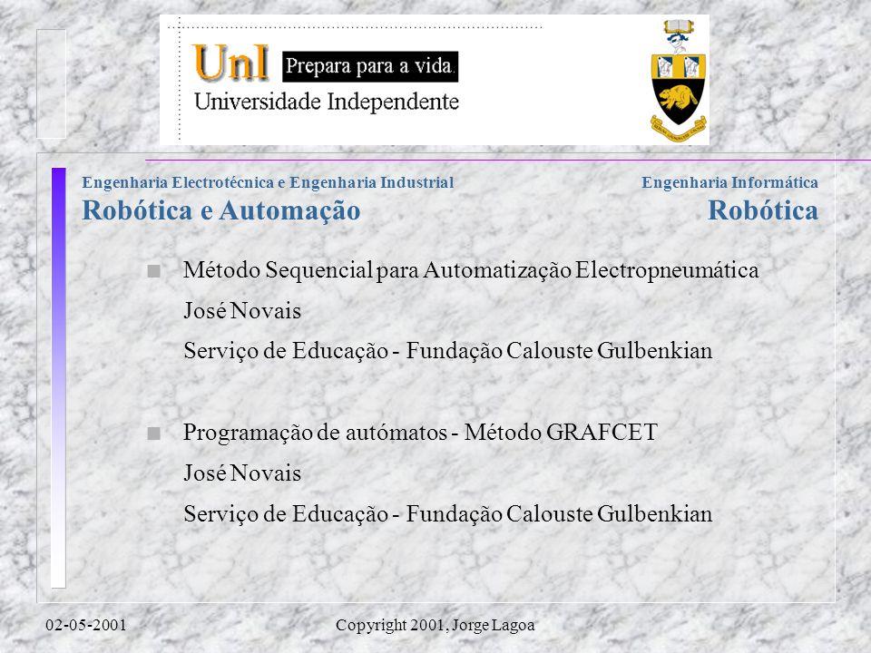 Engenharia Informática Robótica Engenharia Electrotécnica e Engenharia Industrial Robótica e Automação 02-05-2001Copyright 2001, Jorge Lagoa n Método