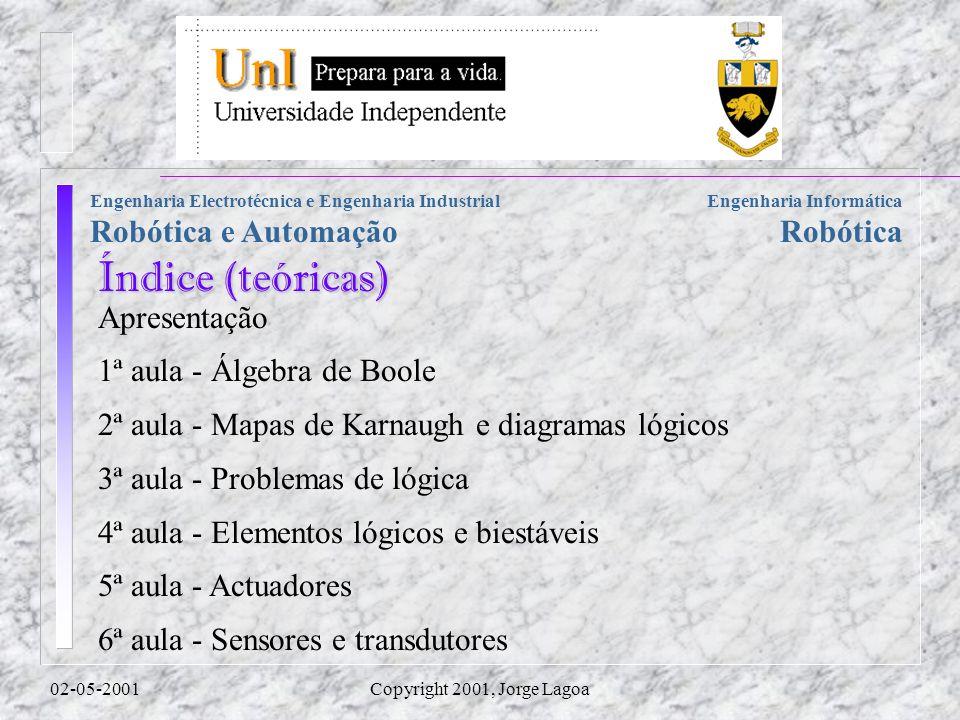 Engenharia Informática Robótica Engenharia Electrotécnica e Engenharia Industrial Robótica e Automação 02-05-2001Copyright 2001, Jorge Lagoa Apresenta