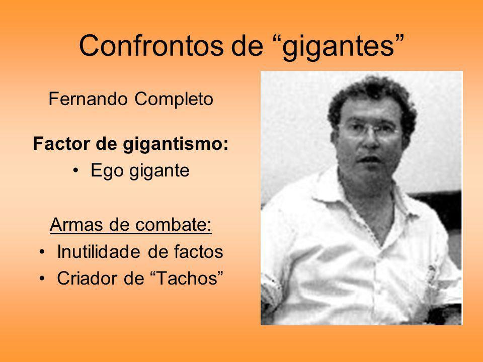Confrontos de gigantes Fernando Completo Factor de gigantismo: Ego gigante Armas de combate: Inutilidade de factos Criador de Tachos