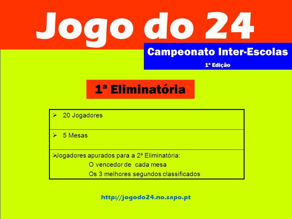 Jogo do 24 Campeonato Inter-Escolas 1ª Edição http://jogodo24.no.sapo.pt 2ª Eliminatória 8 Jogadores 2 Mesas Jogadores apurados para a Final: 1º e 2ª classificados de cada mesa
