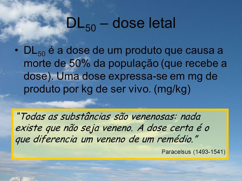 DL 50 – dose letal DL 50 é a dose de um produto que causa a morte de 50% da população (que recebe a dose). Uma dose expressa-se em mg de produto por k