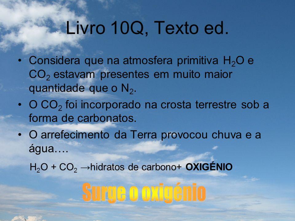 Livro 10Q, Texto ed. Considera que na atmosfera primitiva H 2 O e CO 2 estavam presentes em muito maior quantidade que o N 2. O CO 2 foi incorporado n