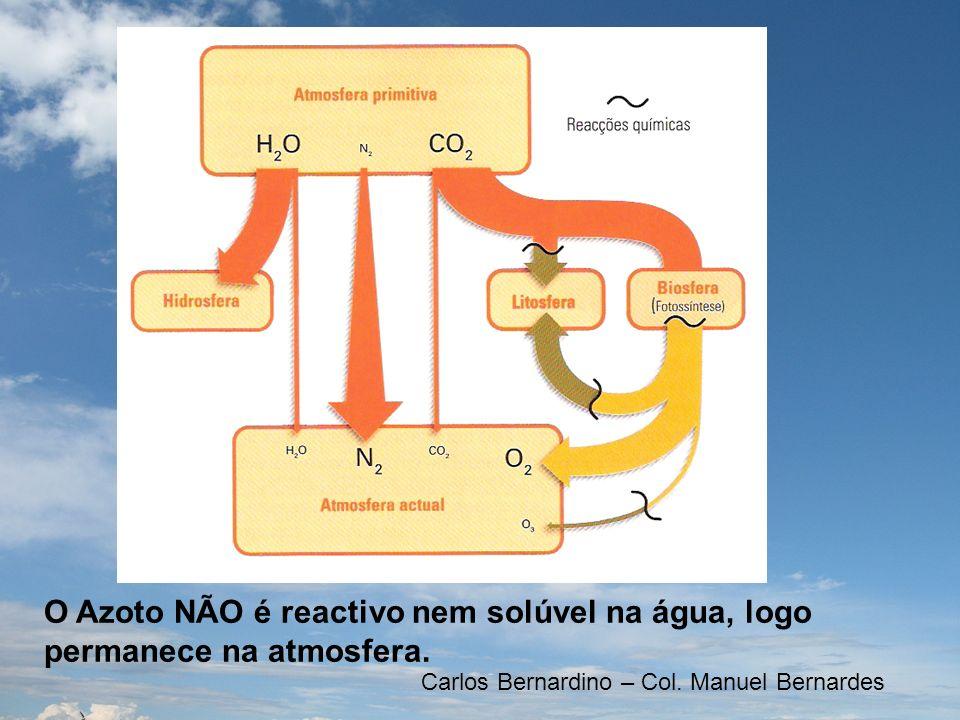 O Azoto NÃO é reactivo nem solúvel na água, logo permanece na atmosfera. Carlos Bernardino – Col. Manuel Bernardes