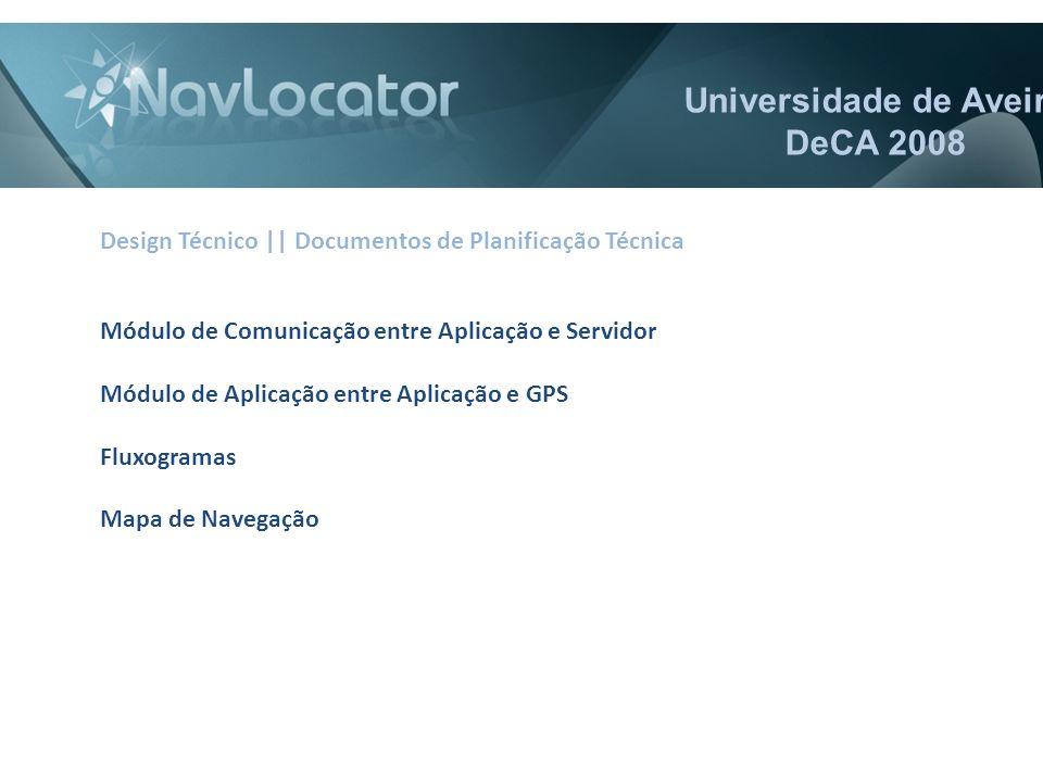 Universidade de Aveiro DeCA 2008 Design Técnico || Documentos de Planificação Técnica Módulo de Comunicação entre Aplicação e Servidor Módulo de Aplicação entre Aplicação e GPS Fluxogramas Mapa de Navegação