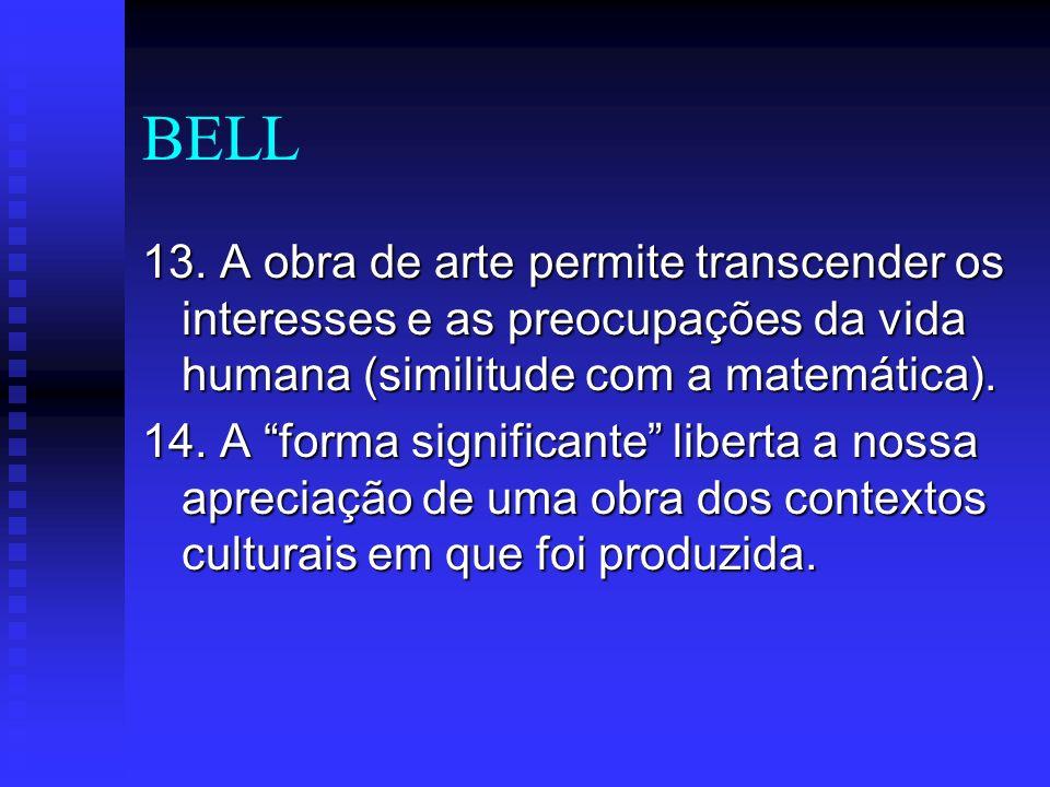 BELL 13. A obra de arte permite transcender os interesses e as preocupações da vida humana (similitude com a matemática). 14. A forma significante lib