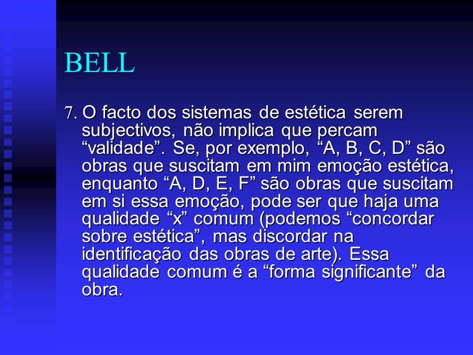 BELL 7. O facto dos sistemas de estética serem subjectivos, não implica que percam validade. Se, por exemplo, A, B, C, D são obras que suscitam em mim