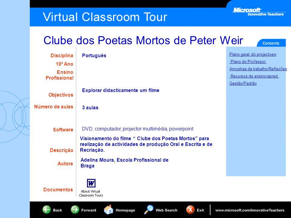 Clube dos Poetas Mortos de Peter Weir Plano geral do projectoew Plano do Professor Amostras de trabalho/Reflexões Recursos de ensino/apred. Gestão/Pad