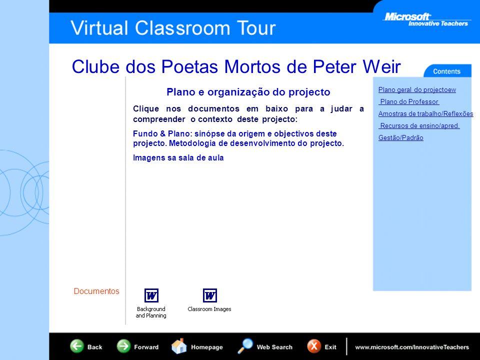 Clube dos Poetas Mortos de Peter Weir Plano geral do projectoew Plano do Professor Amostras de trabalho/Reflexões Recursos de ensino/apred.