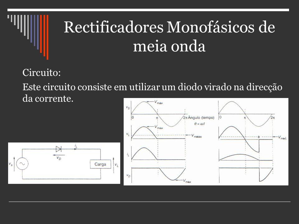 Rectificadores Monofásicos de meia onda Circuito: Este circuito consiste em utilizar um diodo virado na direcção da corrente.