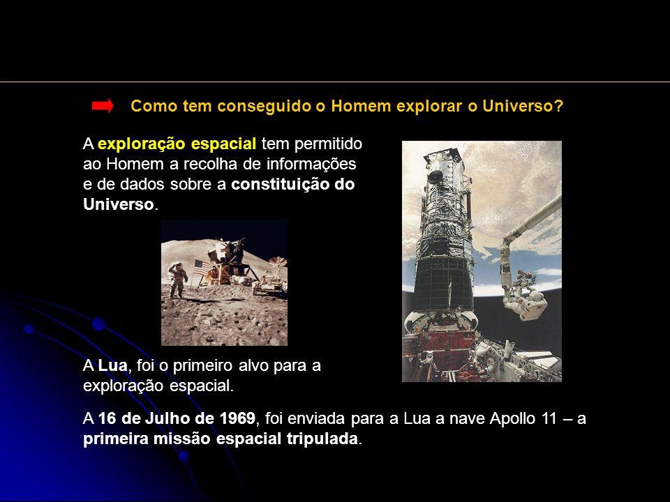 Como tem conseguido o Homem explorar o Universo? A exploração espacial tem permitido ao Homem a recolha de informações e de dados sobre a constituição