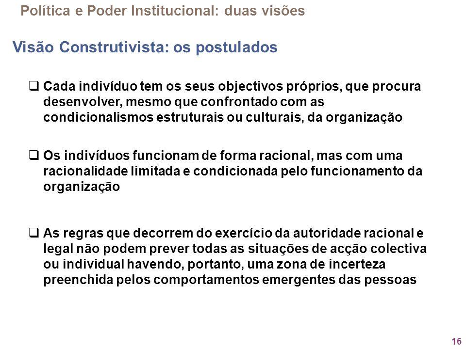 16 Política e Poder Institucional: duas visões Visão Construtivista: os postulados Cada indivíduo tem os seus objectivos próprios, que procura desenvo