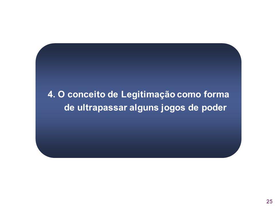 25 4. O conceito de Legitimação como forma de ultrapassar alguns jogos de poder