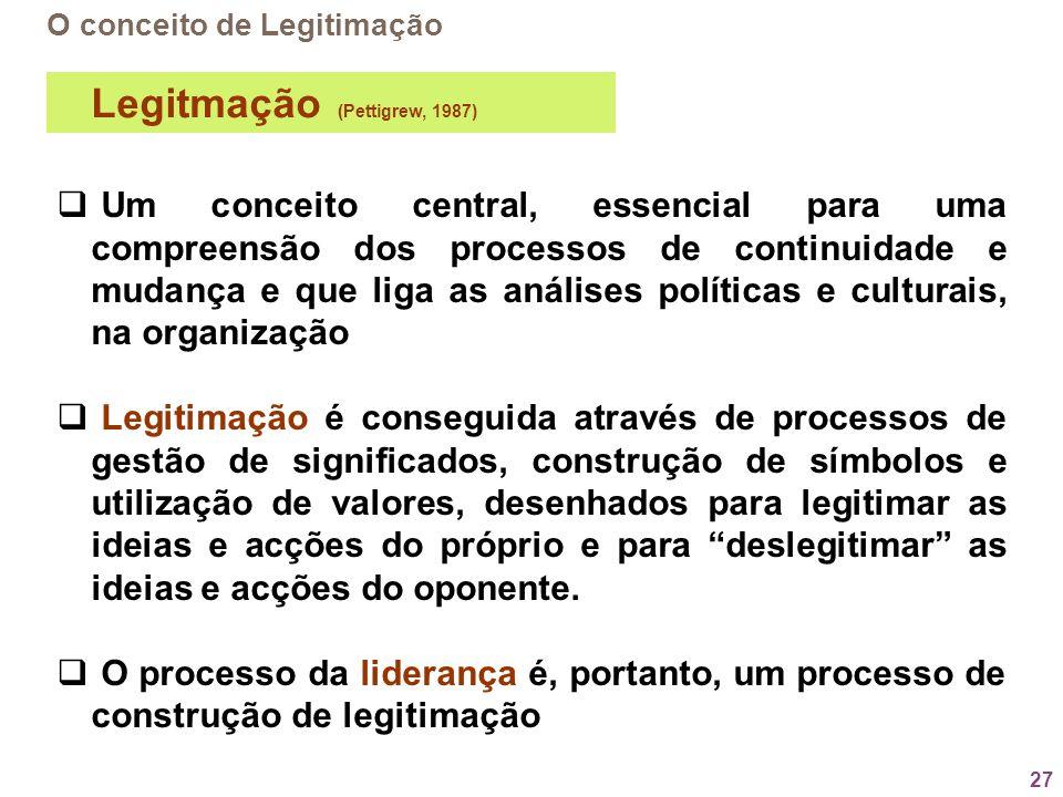 27 O conceito de Legitimação Um conceito central, essencial para uma compreensão dos processos de continuidade e mudança e que liga as análises políti