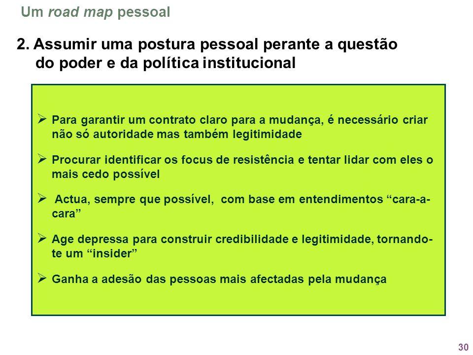 30 Para garantir um contrato claro para a mudança, é necessário criar não só autoridade mas também legitimidade Procurar identificar os focus de resis
