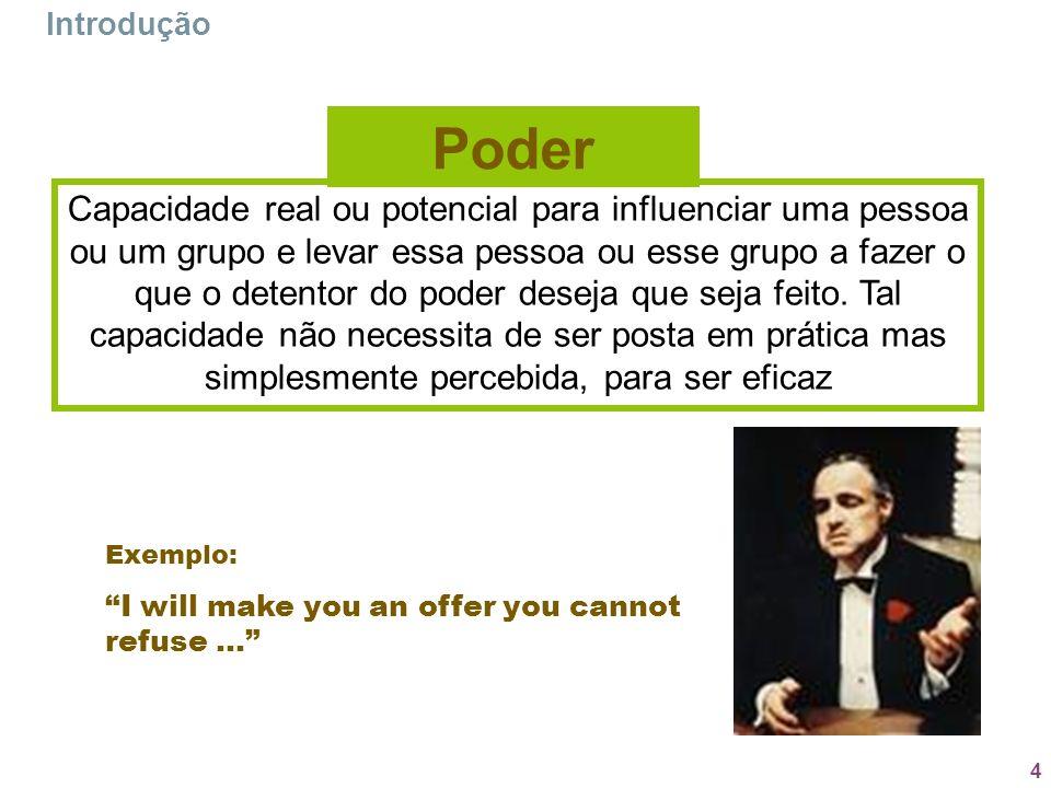 4 Introdução Capacidade real ou potencial para influenciar uma pessoa ou um grupo e levar essa pessoa ou esse grupo a fazer o que o detentor do poder