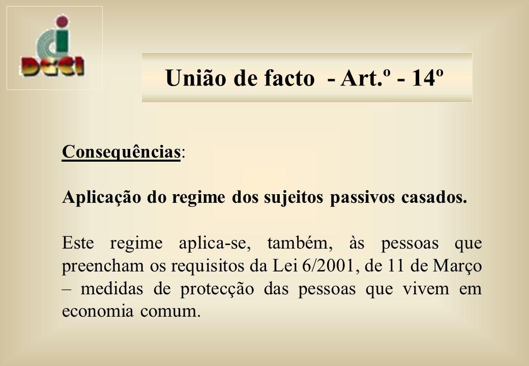 Consequências: Aplicação do regime dos sujeitos passivos casados.