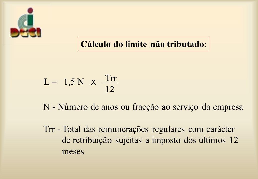 N - Número de anos ou fracção ao serviço da empresa Trr - Total das remunerações regulares com carácter de retribuição sujeitas a imposto dos últimos 12 meses L = 1,5 N x Trr 12 Cálculo do limite não tributado: