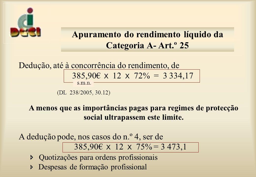 Dedução, até à concorrência do rendimento, de 385,90 x 12 x 72% = 3 334,17 (DL 238/2005, 30.12) A menos que as importâncias pagas para regimes de protecção social ultrapassem este limite.