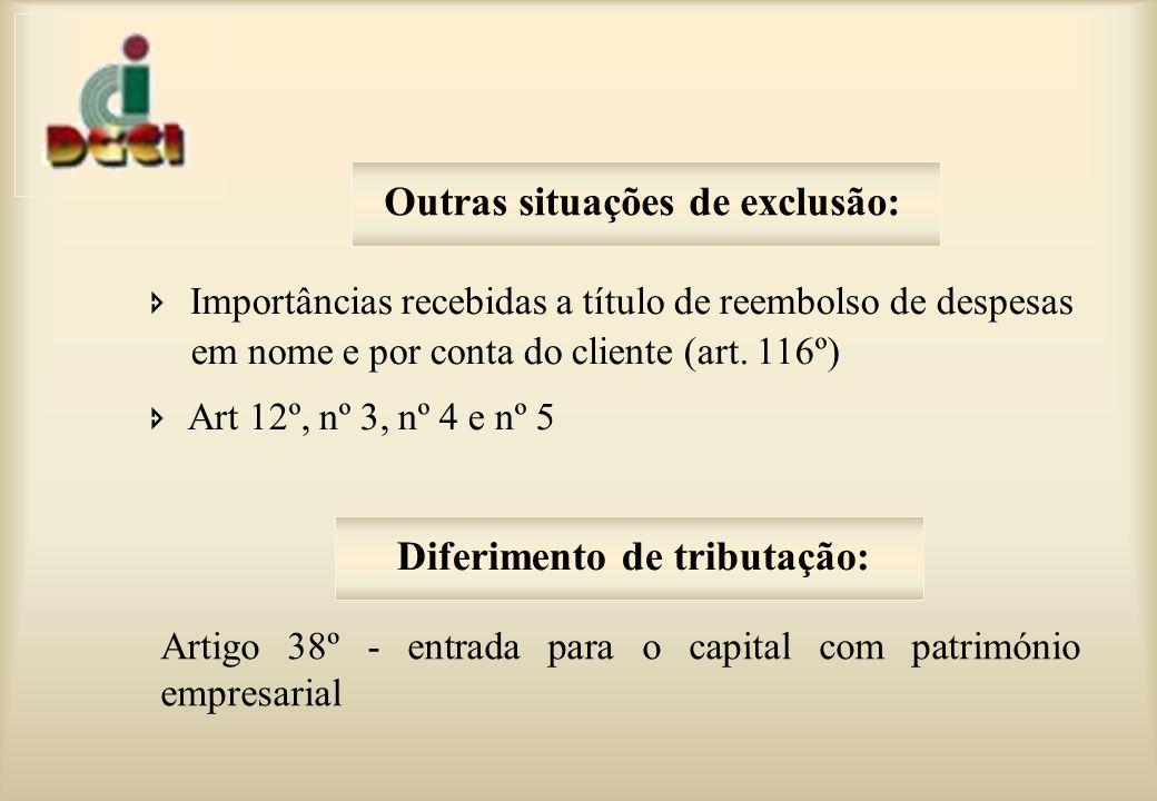 Importâncias recebidas a título de reembolso de despesas em nome e por conta do cliente (art.
