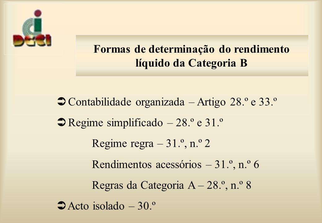 Contabilidade organizada – Artigo 28.º e 33.º Regime simplificado – 28.º e 31.º Regime regra – 31.º, n.º 2 Rendimentos acessórios – 31.º, n.º 6 Regras da Categoria A – 28.º, n.º 8 Acto isolado – 30.º Formas de determinação do rendimento líquido da Categoria B