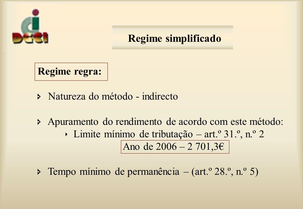 Regime regra: Natureza do método - indirecto Apuramento do rendimento de acordo com este método: Limite mínimo de tributação – art.º 31.º, n.º 2 Ano de 2006 – 2 701,3 Tempo mínimo de permanência – (art.º 28.º, n.º 5) Regime simplificado