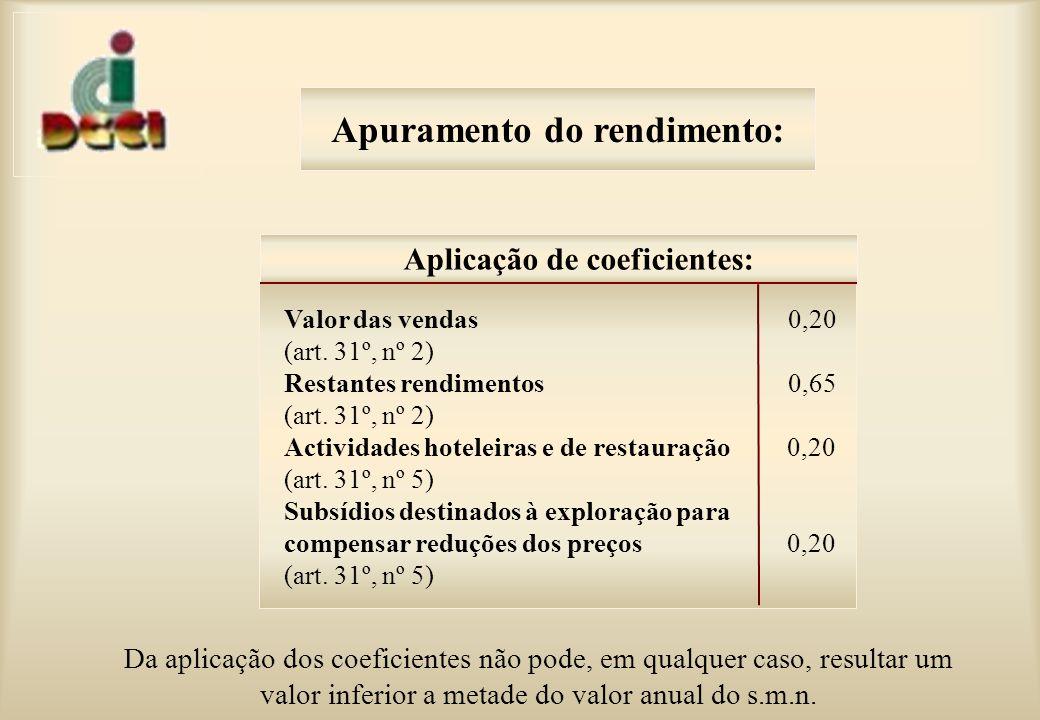 Apuramento do rendimento: Da aplicação dos coeficientes não pode, em qualquer caso, resultar um valor inferior a metade do valor anual do s.m.n.
