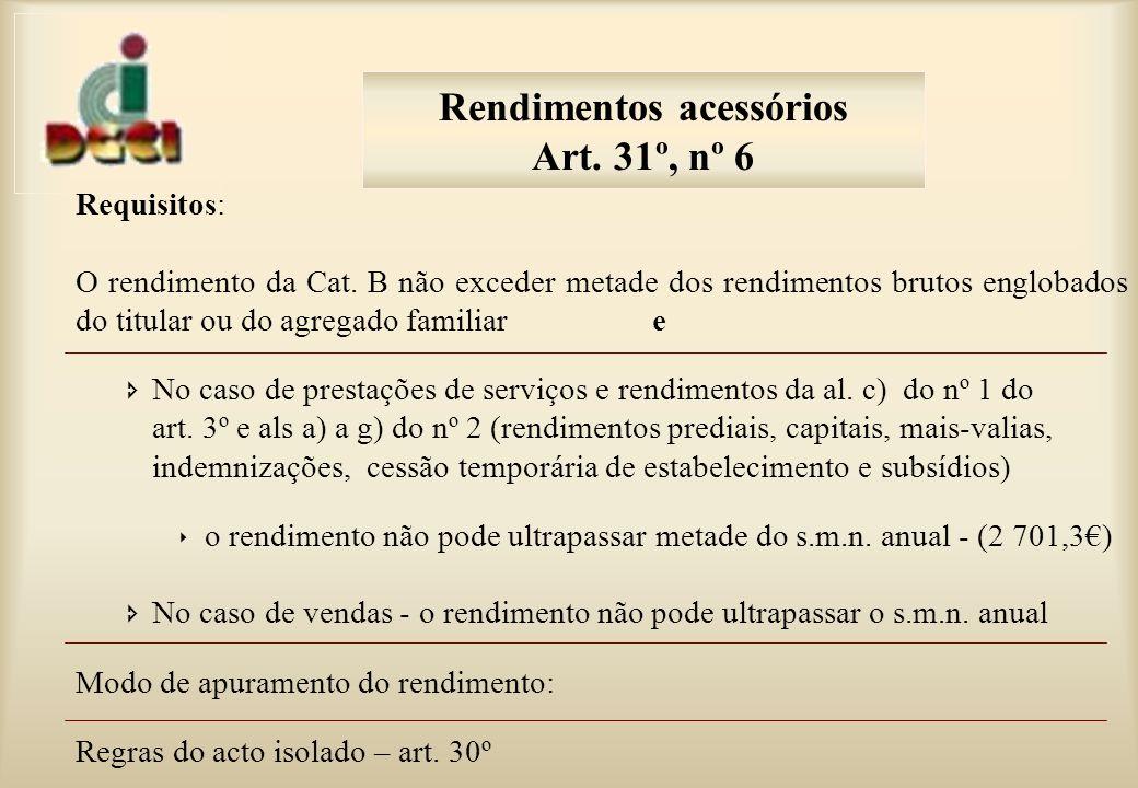 Requisitos: O rendimento da Cat.