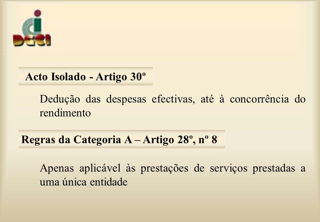 Dedução das despesas efectivas, até à concorrência do rendimento Apenas aplicável às prestações de serviços prestadas a uma única entidade Acto Isolado - Artigo 30º Regras da Categoria A – Artigo 28º, nº 8