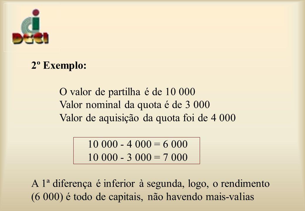 2º Exemplo: O valor de partilha é de 10 000 Valor nominal da quota é de 3 000 Valor de aquisição da quota foi de 4 000 10 000 - 4 000 = 6 000 10 000 - 3 000 = 7 000 A 1ª diferença é inferior à segunda, logo, o rendimento (6 000) é todo de capitais, não havendo mais-valias