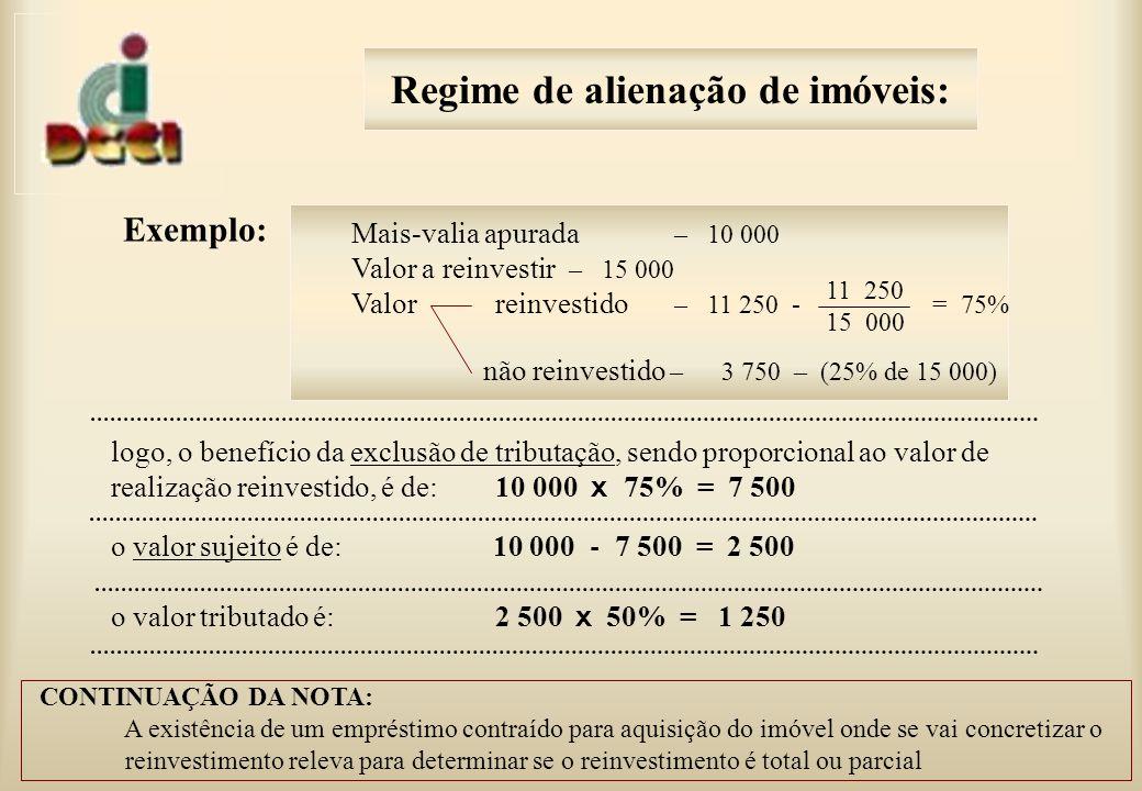 Exemplo: Mais-valia apurada – 10 000 Valor a reinvestir – 15 000 Valor reinvestido – 11 250 - = 75% não reinvestido – 3 750 – (25% de 15 000) logo, o benefício da exclusão de tributação, sendo proporcional ao valor de realização reinvestido, é de: 10 000 x 75% = 7 500 o valor sujeito é de: 10 000 - 7 500 = 2 500 o valor tributado é: 2 500 x 50% = 1 250 CONTINUAÇÃO DA NOTA: A existência de um empréstimo contraído para aquisição do imóvel onde se vai concretizar o reinvestimento releva para determinar se o reinvestimento é total ou parcial 11 250 15 000 Regime de alienação de imóveis: