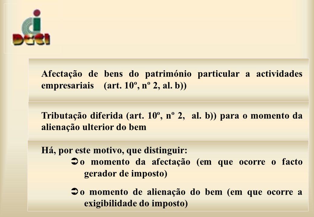 Afectação de bens do património particular a actividades empresariais (art.