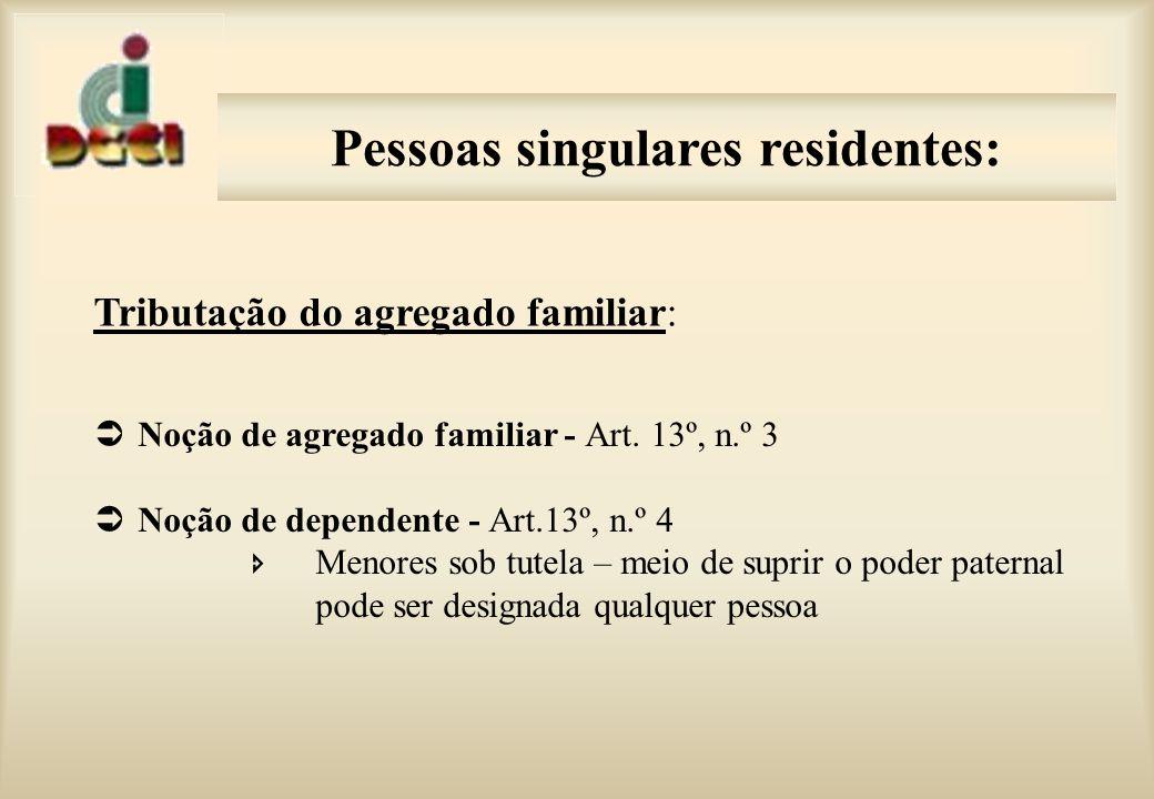 Pessoas singulares residentes: Tributação do agregado familiar: Noção de agregado familiar - Art.