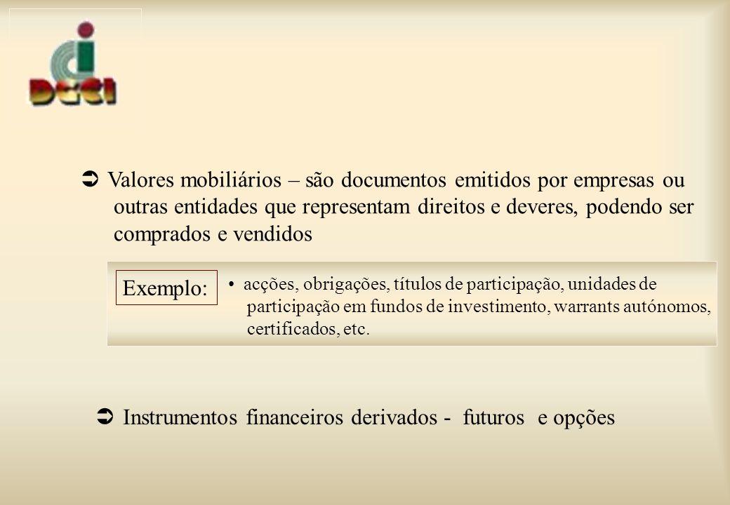 Valores mobiliários – são documentos emitidos por empresas ou outras entidades que representam direitos e deveres, podendo ser comprados e vendidos Exemplo: acções, obrigações, títulos de participação, unidades de participação em fundos de investimento, warrants autónomos, certificados, etc.