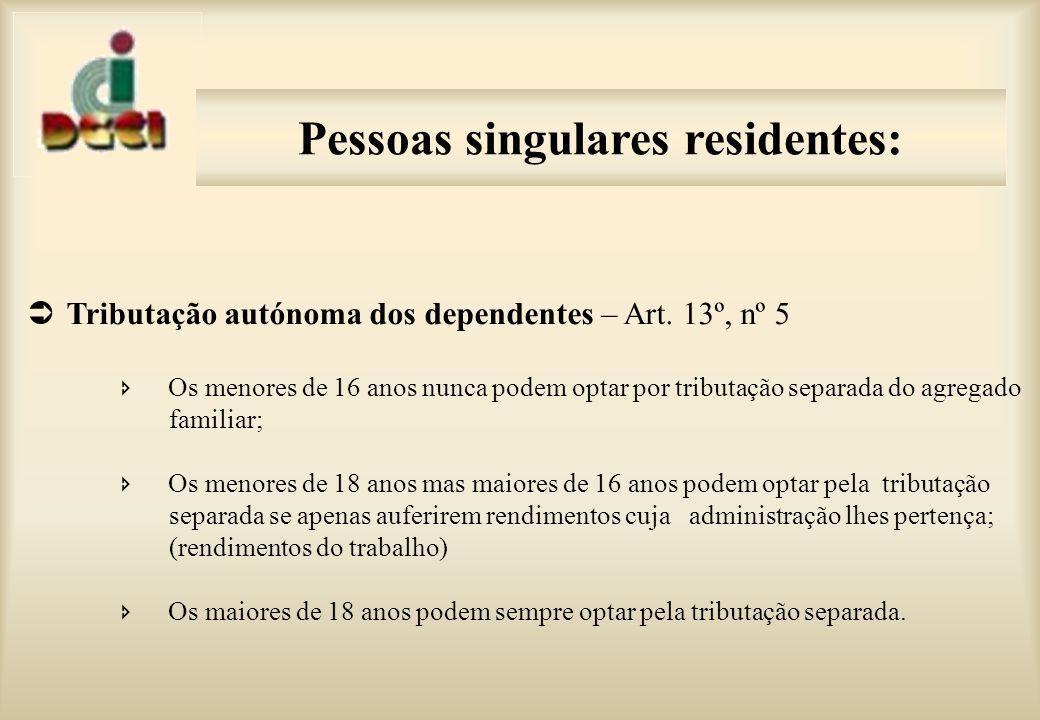 Pessoas singulares residentes: Impossibilidade de integrar mais que um agregado familiar Art.