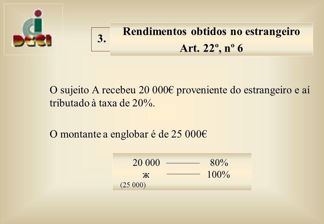 O sujeito A recebeu 20 000 proveniente do estrangeiro e aí tributado à taxa de 20%.