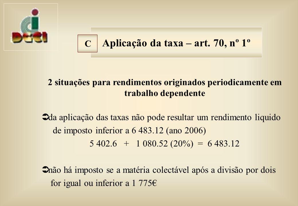 da aplicação das taxas não pode resultar um rendimento liquido de imposto inferior a 6 483.12 (ano 2006) 5 402.6 + 1 080.52 (20%) = 6 483.12 não há imposto se a matéria colectável após a divisão por dois for igual ou inferior a 1 775 Aplicação da taxa – art.