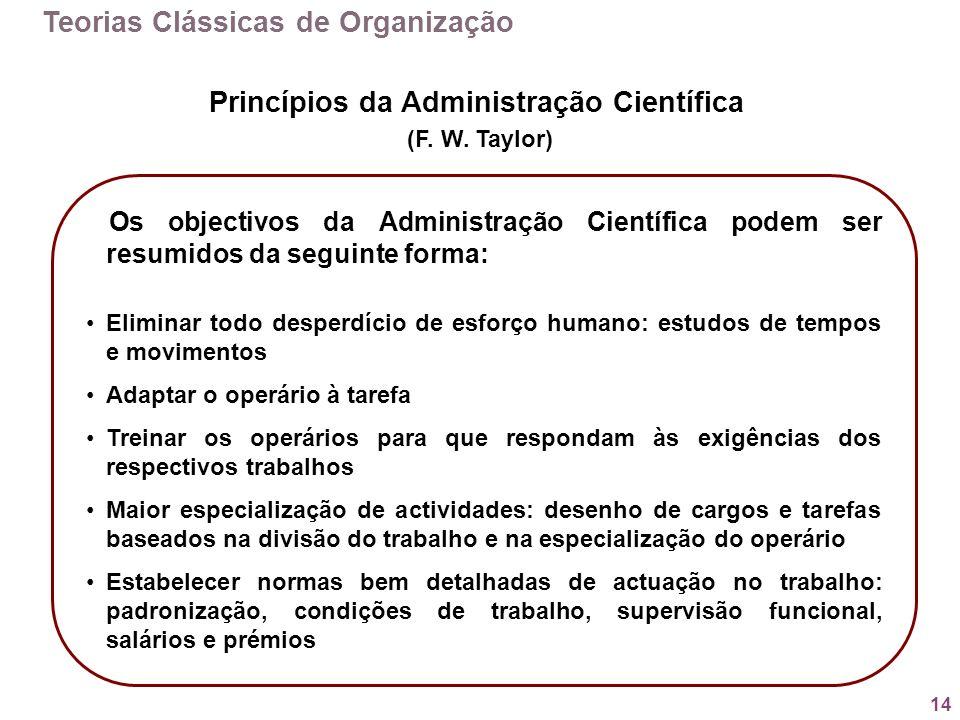14 Teorias Clássicas de Organização Os objectivos da Administração Científica podem ser resumidos da seguinte forma: Eliminar todo desperdício de esfo
