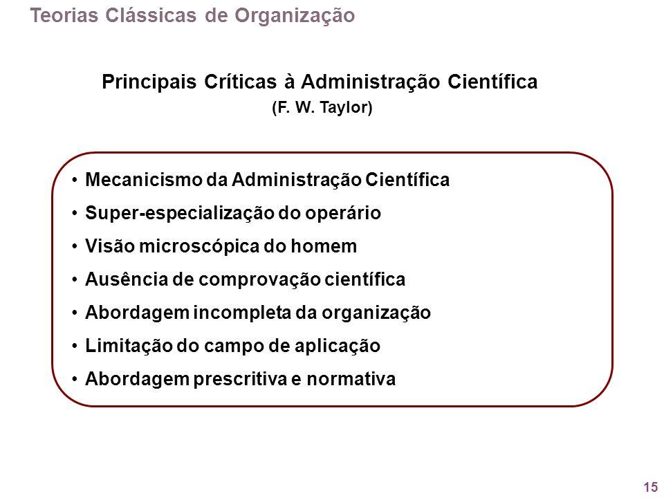 15 Teorias Clássicas de Organização Principais Críticas à Administração Científica (F. W. Taylor) Mecanicismo da Administração Científica Super-especi