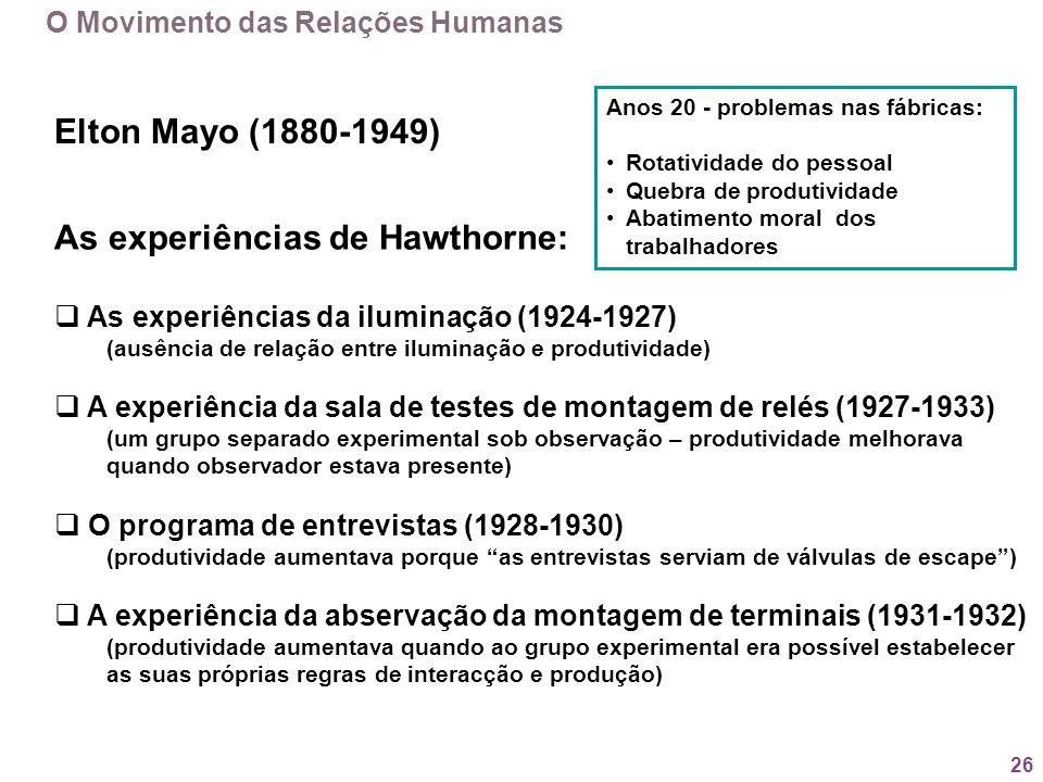 26 O Movimento das Relações Humanas Elton Mayo (1880-1949) Anos 20 - problemas nas fábricas: Rotatividade do pessoal Quebra de produtividade Abatiment