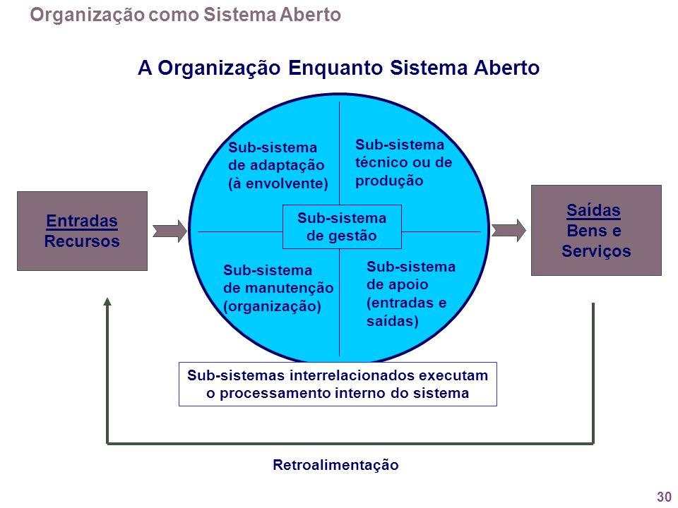 30 A Organização Enquanto Sistema Aberto Entradas Recursos Saídas Bens e Serviços Retroalimentação Sub-sistemas interrelacionados executam o processam