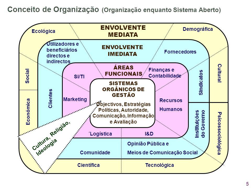 5 ENVOLVENTE MEDIATA ENVOLVENTE IMEDIATA ÁREAS FUNCIONAIS Económica Clientes Marketing SI/TI Utilizadores e beneficiários directos e indirectos Ecológ