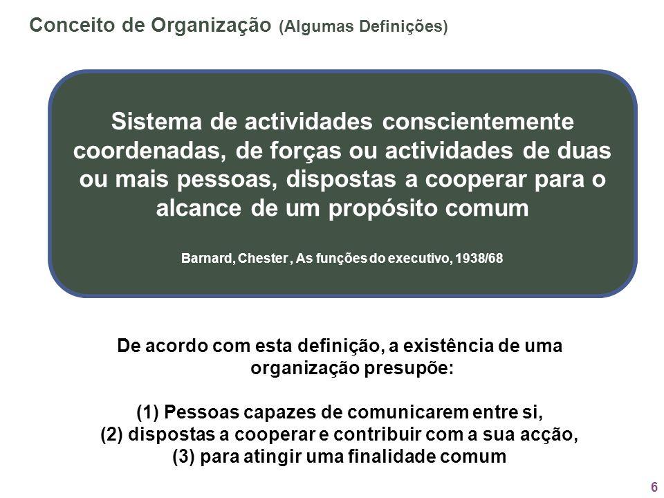 6 Conceito de Organização (Algumas Definições) Sistema de actividades conscientemente coordenadas, de forças ou actividades de duas ou mais pessoas, d