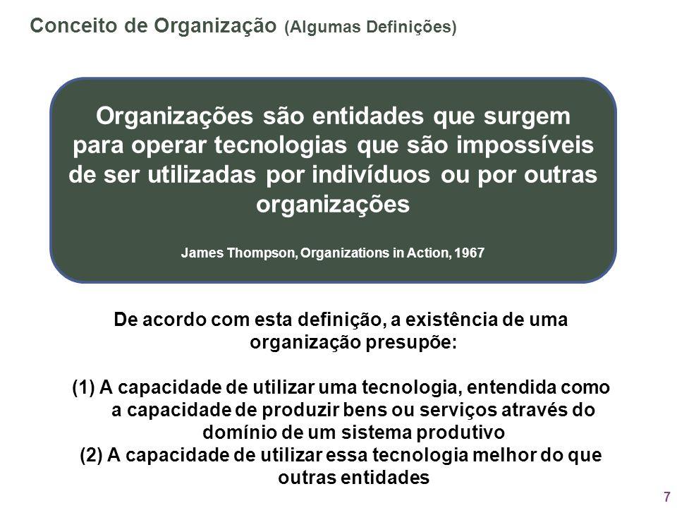 7 1.1 Organizações são entidades que surgem para operar tecnologias que são impossíveis de ser utilizadas por indivíduos ou por outras organizações Ja