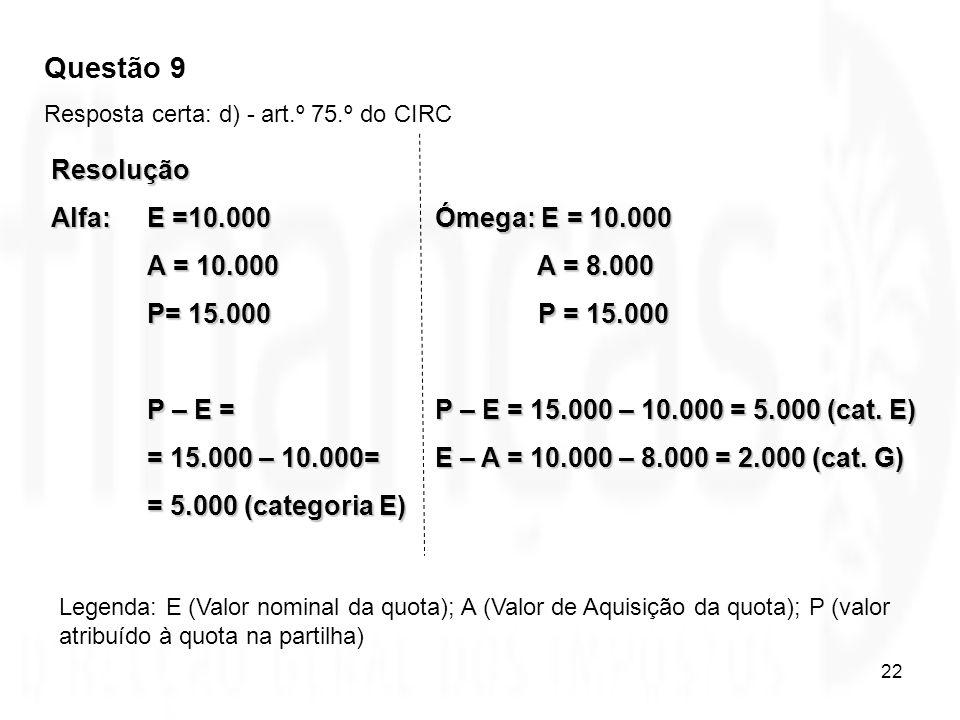 22 Resolução Alfa: E =10.000Ómega: E = 10.000 A = 10.000 A = 8.000 P= 15.000 P = 15.000 P – E =P – E = 15.000 – 10.000 = 5.000 (cat. E) = 15.000 – 10.