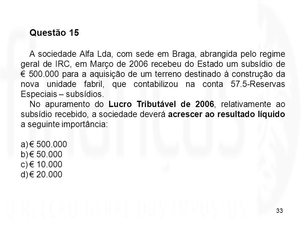 33 Questão 15 A sociedade Alfa Lda, com sede em Braga, abrangida pelo regime geral de IRC, em Março de 2006 recebeu do Estado um subsídio de 500.000 p
