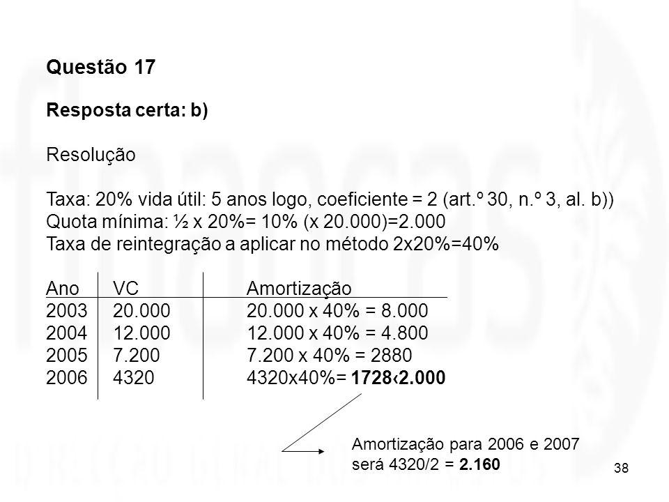 38 Questão 17 Resposta certa: b) Resolução Taxa: 20% vida útil: 5 anos logo, coeficiente = 2 (art.º 30, n.º 3, al. b)) Quota mínima: ½ x 20%= 10% (x 2